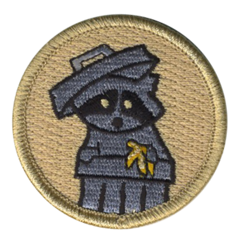 Trash Raccoon Scout Patrol Patch - embroidered 2 inch round