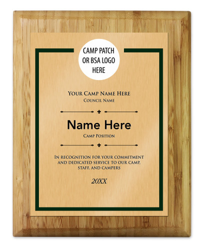 Scouts BSA Camp Plaque with Personal Logo - Light Wood