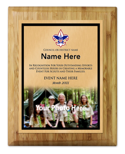Council Event Coordinator Plaque with Corporate Logo - Bottom Photo Design - Vertical