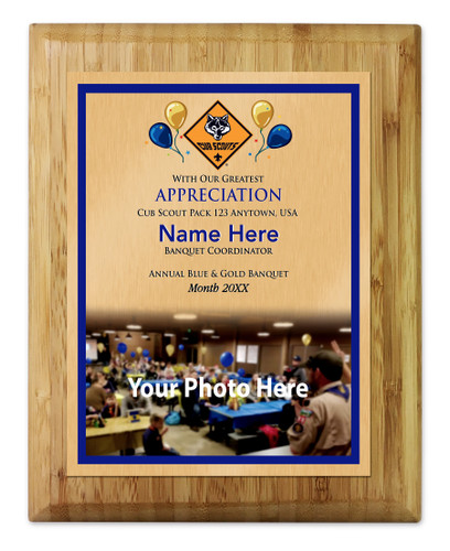 Cub Scout Pack Plaque with Cub Scout Logo - Light Wood