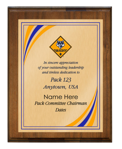 Cub Scout Pack Plaque with Cub Scout Logo - Dark Wood