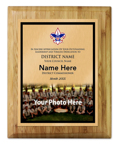District Commissioner Plaque with Corporate Logo - Bottom Photo Design - Vertical