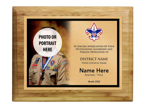 District Commissioner Plaque with Corporate Logo - Left Photo Design - Horizontal