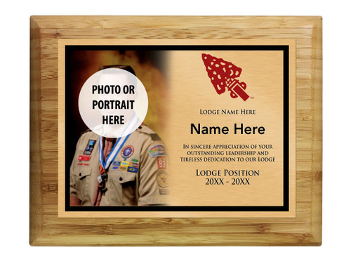 Scouts BSA Order of The Arrow Plaque with Order of The Arrow Logo - Light Wood