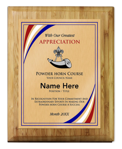Scouts BSA Powder Horn Plaque with BSA Powder Horn Logo - Light Wood