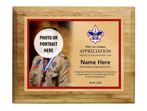 Scout Troop Sponsor Plaque with Corporate Logo - Left Photo Design - Horizontal