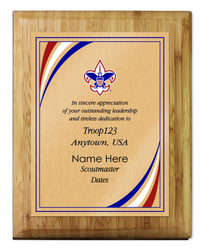 Scoutmaster Plaque with Corporate Logo - Stripes Design - Vertical