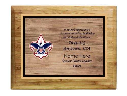 Scouts BSA Troop Plaque with BSA Logo - Light Wood