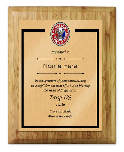 BSA Eagle Scout Plaque with Eagle Scout Logo - Light Wood