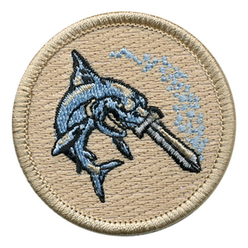 Shark Sword Fighter Scout Patrol Patch - embroidered 2 inch round