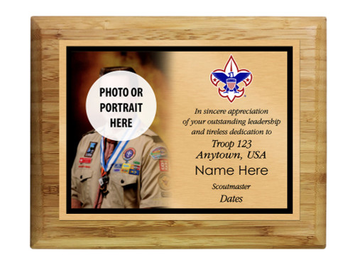 Scoutmaster Plaque with Corporate Logo - Left Photo Design - Horizontal