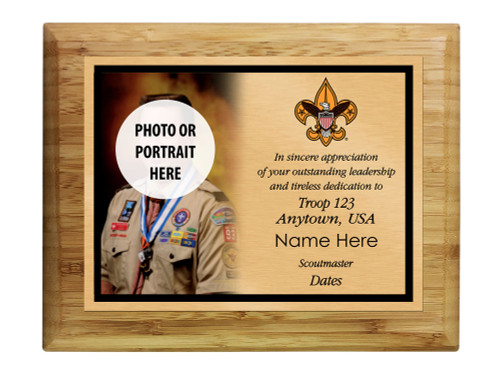 Scoutmaster Plaque with Universal Logo - Left Photo Design - Horizontal