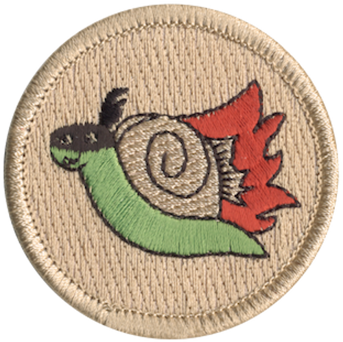 Flaming Ninja Snail Scout Patrol Patch - embroidered 2 inch round
