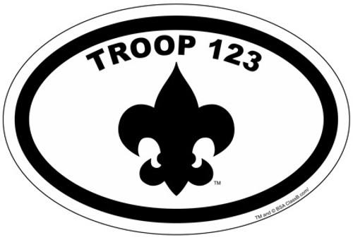 Custom Scouts BSA Troop Oval with Fleur-de-lis Car Sticker (SP4625)