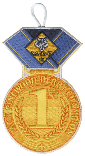 Pinewood Derby Medal Patch with Cub Scout Logo and Button Loop