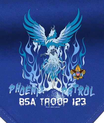 Troop Neckerchief with Ice Phoenix Patrol Design and BSA Logo