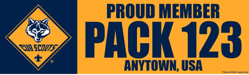 Custom Cub Scout Proud Member of Pack Bumper Sticker (SP X4617
