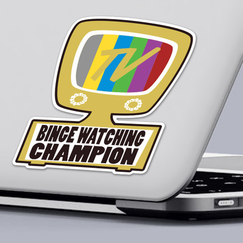 Funny 2020 Quarantine Sticker TV Binge Watching Champion Sticker Design