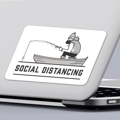 Funny 2020 Quarantine Sticker Social Distancing Fisherman Sticker Design