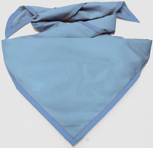 Blank Light Blue Neckerchief With Iris Blue Piped Edge - Pack Size (B848 M 16/78)