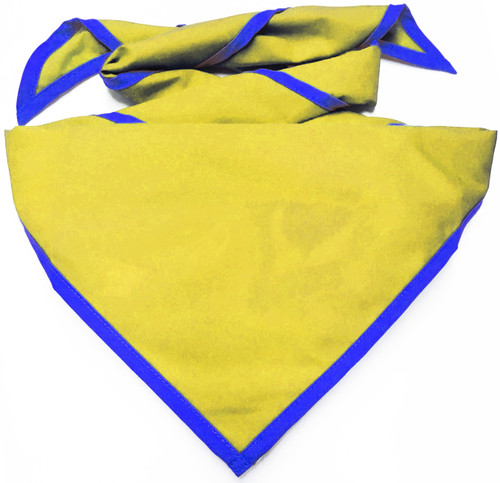 Blank Bright Yellow Neckerchief With Royal Blue Piped Edge - Troop Size (B848 M 41/DB)