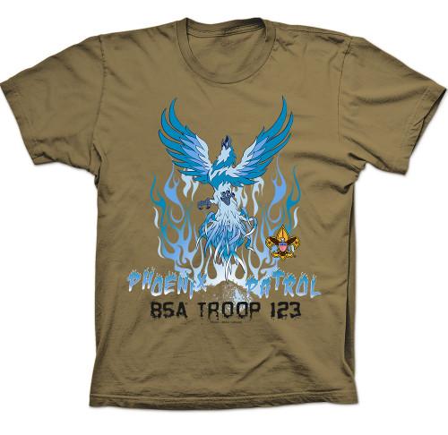 Scouts BSA Patrol Shirt with Ice Blue Phoenix Patrol