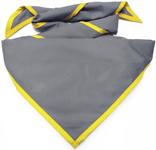Blank Dark Grey Neckerchief With Bright Yellow Piped Edge - Troop Size (B848 M 52/41)