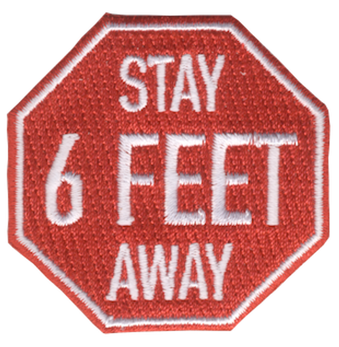 Funny 2020 Quarantine Patch with Stay 6 Feet Away Iron On Patch Design