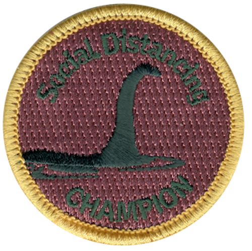 Funny 2020 Quarantine Patch with Social Distancing Champion Loch Ness Monster Iron On Patch Design