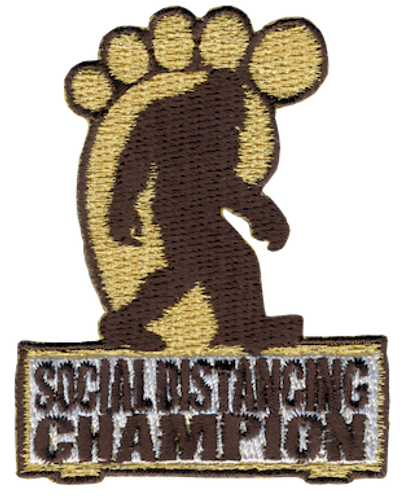 Funny 2020 Quarantine Patch with Social Distancing Champion Big Foot  Iron On Patch Design