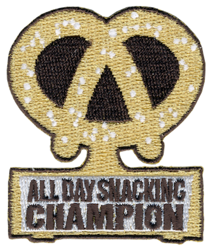 Funny 2020 Quarantine Patch with All Day Snacking Champion Iron On Patch Design