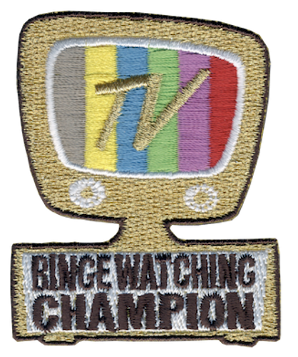 Funny 2020 Quarantine Patch with TV Binge Watching Champion Iron On Patch Design