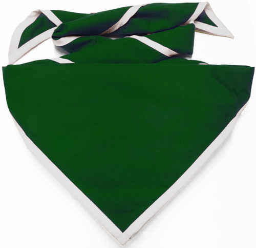 Blank Kelly Green Neckerchief With White Piped Edge - Troop Size (B848 M 958/1W)