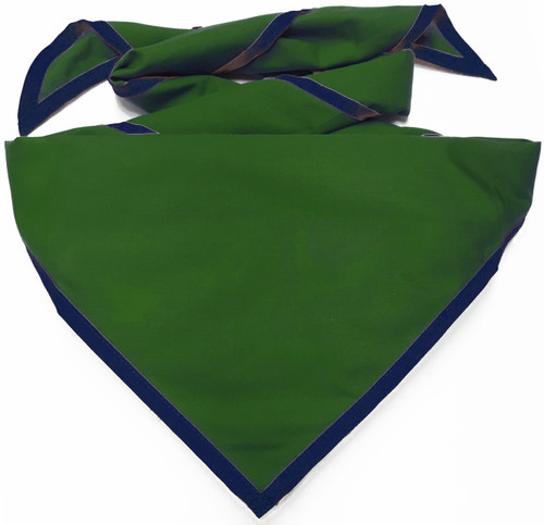 Blank Kelly Green Neckerchief With Metro Blue Piped Edge - Troop Size (B848 M 958/91)