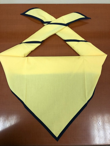 Blank Honey Neckerchief With Navy Piped Edge - Troop Size (B848 M 3/85)