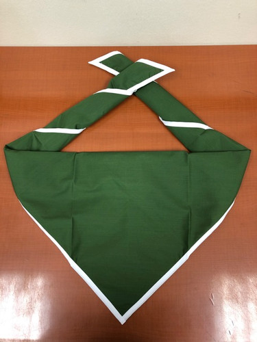 Blank Moss Neckerchief With White Piped Edge - Troop Size (B848 M 80/1W)
