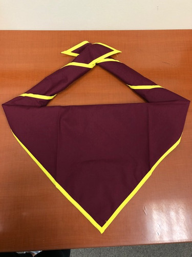 Blank Maroon Neckerchief With Bright Yellow Piped Edge - Troop Size (B848 M 81/41)