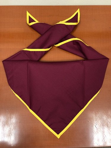 Blank Maroon Neckerchief With Gold Piped Edge Troop Size (B848 M 81/42)