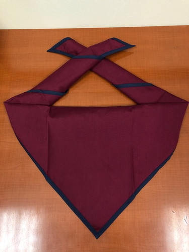 Blank Maroon Neckerchief With Navy Piped Edge Troop Size (B848 M 81/85)