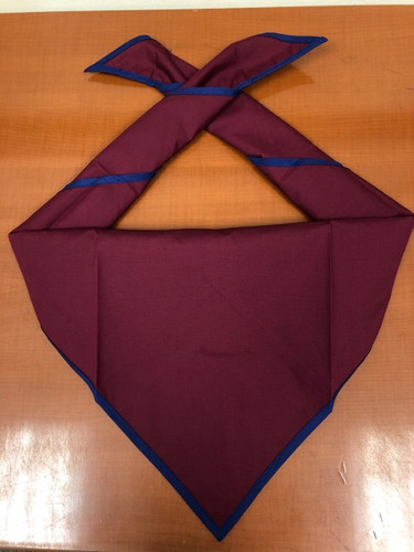 Blank Maroon Neckerchief With Metro Blue Piped Edge - Troop Size (B848 M 81/91)