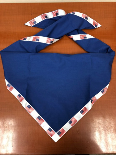Blank Royal Blue Neckerchief with White And American Flag Piped Edge - Troop Size (B848 M DB/)