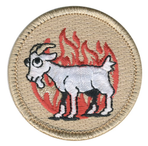 Fiery Goat Scout Patrol Patch - embroidered 2 inch round