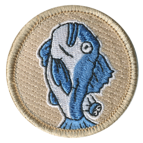 Blue Salt Fish Scout Patrol Patch - embroidered 2 inch round