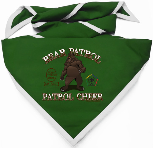 Custom Digitally Printed Bear Wood Badge Patrol Neckerchief (SP4996)