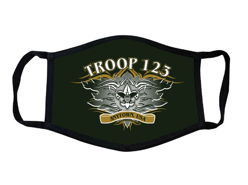 Scouts BSA Troop Face Mask with BSA Corporate Logo and Troop Number and City and State