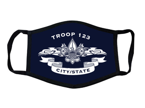 scout BSA troop face mask. navy with white letters. customized with your troop information.  Troop number and city state