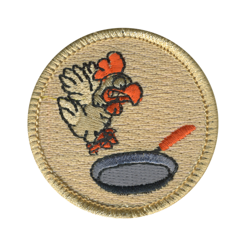 Flying Chicken Frying Pan Scout Patrol Patch - embroidered 2 inch round