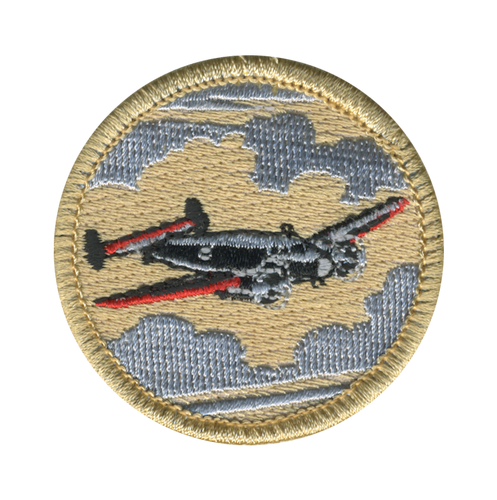 Earhart Plane Scout Patrol Patch - embroidered 2 inch round