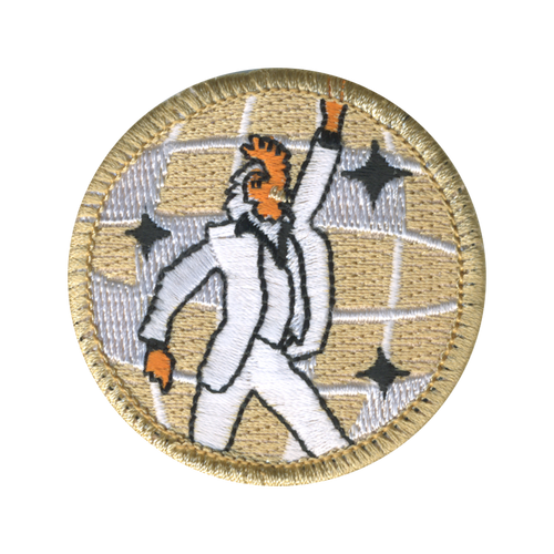 Disco Dancing Chicken Scout Patrol Patch - embroidered 2 inch round