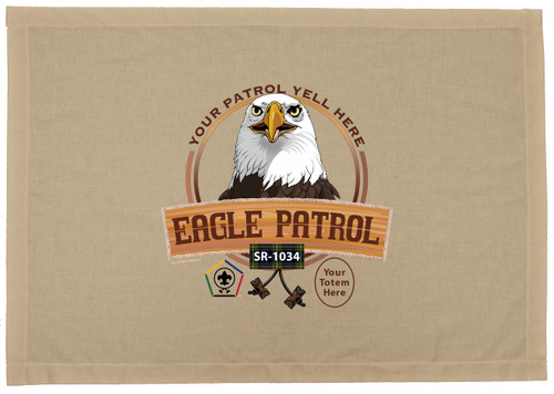 Wood Badge Flag with Wood Badge Eagle Critter with Wood Badge logo and Wood Badge Beads